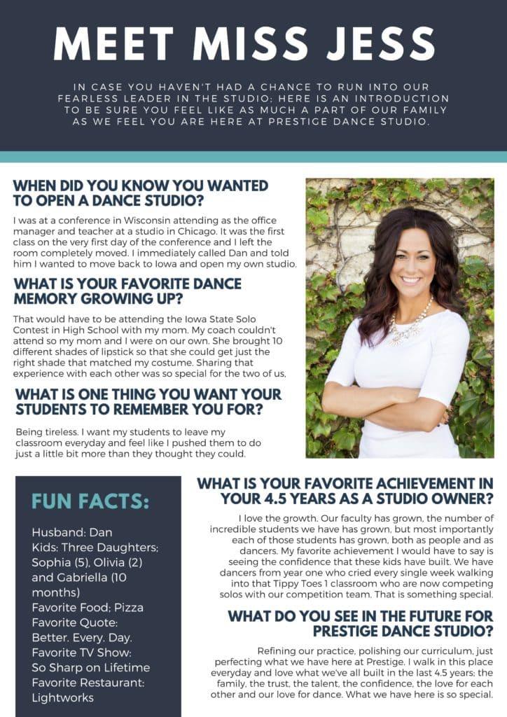 Meet the owner of Prestige Dance Studio in Cedar Rapids, IA
